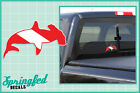 Hammerhead Shark Shaped DIVE Flag Vinyl Decal Car Truck Sticker SCUBA Diving