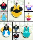 DISNEY PRINCESS STAR WARS MOUSE EARS CHARM NECKLACE ACRYLIC ARIEL BELLE ALICE