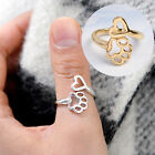 Women Hollow Paw Print Love Heart Ring Open Adjustable Ring Pet Animal Jewelry