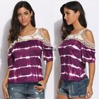 Purple Cold Shoulder Half Sleeve Cotton Lace Patchwork Chiffon Top TXCL
