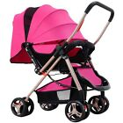 Foldable Pram Baby Stroller Shockproof buggy baby child jogger push chair Red UK
