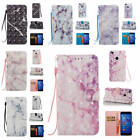 Fr Huawei P8 Lite (2017) Marble Pattern Glossy Synthetic Leather Card Case Cover
