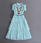 17 occident Stand up collar chaste nature Sequins Pleated cake dress prom lofty