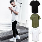 Men Basic Long T- Shirt Extended Fashion Casual Tee Lot Elongated Crew Neck