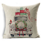 "18"" Cotton Linen Sofa Car Home Waist Cushion Cover Throw Pillow Case Xmas Gift"