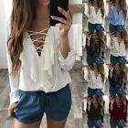 UK Womens Casual Long Sleeve Top Chiffon T-Shirt Lace UP V Neck Blouse Size 6-20