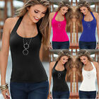 Sexy UK Womens Sleeveless Vest Strappy Top Beach T-Shirt Maxi Blouse 6-16