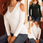 New UK Womens Autumn Beach Lacing Top Long Sleeve T-Shirt Fitted Maxi Blouse