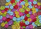 100 MIXED COLOURS 2 HOLE 9mm RESIN BUTTONS - CRAFTS/DOLLS/SEWING