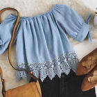 Women Off Shoulder Lace Chiffon Blouse Casual tops Blue Short Sleeve Shirts