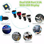 Universal Dual USB Car Cigarette Charger With Volt Amp Meter LED Display 5V 3.1A