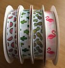 Grosgrain Ribbon Tropical Pineapple Watermelon Cacti and Bright Pink Flamingo