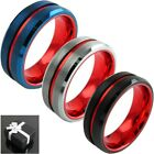 8mm Tungsten Men's Red Grooved Center Brushed Wedding Band Blue Silver or Black