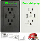 LOT Dual USB Port Wall Socket Charger AC Power Receptacle Outlet Plate Panel