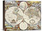 Map of The World by Cornelis Danckerts Drawn Art on Wrapped Canvas