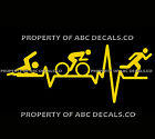 Home Decor Letters VRS Heart Beat Line TRIATHLON Swim Bike Run Guy Runner Bicycle CAR VINYL DECAL  Celebrity Home Decorations