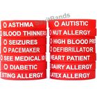 1 Red Medical Alert Wristband Bracelet - Debossed Med Condition Alert Band