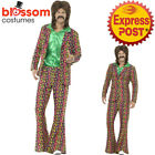 CA400 Mens 60s 70s Psychedelic CND Suit Retro Hippie Fancy Dress Costume Hippy
