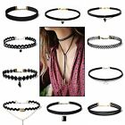 10pcs  Lace Choker Necklace Black vintage Velvet Gothic Pendant retro Chain US