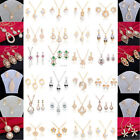 Wholesale New Charm Gold/Silver Rhinestone Crystal Necklace+Earrings Jewelry Set