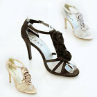 NEW WOMENS LADIES 3 SATIN FLOWER WEDDING PROM BRIDAL EVENING SHOES SIZE 3-8 0526