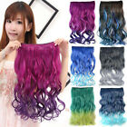 Full Head Colorful Ombre Body Wavy Clips In Synthetic Hair Extensions Hairpiece