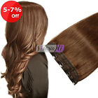 Full Head Clip in Human Hair Extensions Straight Hair One piece 5 Clips US Ship