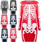 Ladies Womens Halloween Printed Top Tunic Fancy Skeleton Fitted Bodycon Dresses