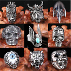 Punk Men Stainless Steel Silver Fashion Cool Gothic Finger Rings Jewelry #8-#10