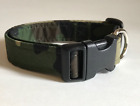 GREEN CAMOUFLAGE PRINT DOG COLLAR (YOU PICK THE SIZE)
