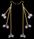 ZJ026 Acrylic Love Heart Bead Earrings 12 Colors Golden Chain Dangle Eardrop New