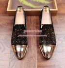 Mens Metal Toe slip on loafers moccasions Rhinestone party low heel Casual shoes