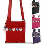 NEW Ladies LEATHER Cross Body BAG by MALA Lucy Collection Shoulder Handbag Heart