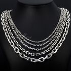 Mens Stainless Steel 2.5-10mm Silver Tone Cut Rolo Cable Link Chain Necklace