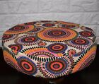 AF258r Orange Pink Flower Cotton Canvas 3D Round Seat Cushion Cover Custom Size