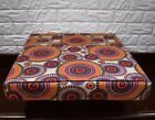 AF258t Blue Orange Flower Cotton Canvas 3DBox Sofa Seat Cushion Cover CustomSize
