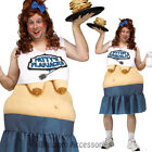 CA67 Patty's Flapjacks Diner Waitress Funny Food Halloween Costume Big Fat Suit