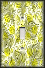 Metal Light Switch Plate Cover - Peacock Feathers Art Yellow Home Decor Feathers