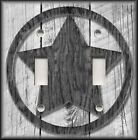 Metal Light Switch Plate Cover - Rustic Farmhouse Decor Country Star Grey