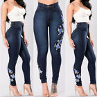 Womens Ladies High Waisted Blue Skinny Fit Jeans Stretch Denim Jegging Size 8-16