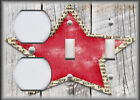 Metal Light Switch Plate Cover - Country Farmhouse Home Decor - Aged Star - Red