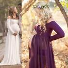 US Pregnant Off Shoulder Long Sleeve Evening Dress Maternity Gown Photography