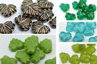 13MM LARGE CZECH GLASS HEART SHAPED LEAF/DROP BEADS - HOLE THROUGH - (15PCS)