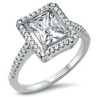 Sterling Silver CZ Women's Radiant Cut Engagement Ring Band Size 5-9