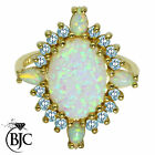 BJC® 9ct Yellow Gold Oval Opal & Blue Topaz size P Large Cluster ring R198