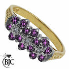 BJC® 9ct Yellow gold Amethyst & Diamond Triple Cluster engagement ring R264