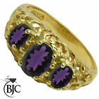 BJC® 9ct Yellow gold Amethyst Vintage 3 stone size M engagement ring R245