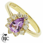 BJC® 9ct Yellow gold Amethyst & Diamond Pear Cluster ring R273