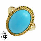 BJC® 9ct Yellow gold Large Turquoise Solitaire Oval Ring Size Q engagement R168