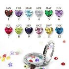 12X Birthstones Heart Living Memory Floating Charms For Locket Necklace Bracelet